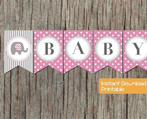 free baby shower banners baby shower banner pink grey elephant bumpandbeyonddesigns