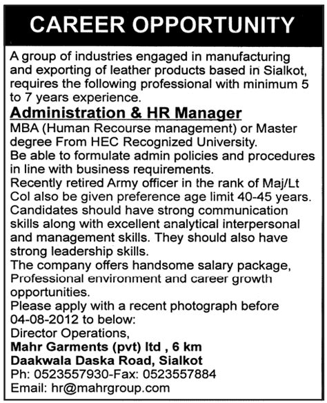 Friends Mba Requirements by Administration Hr Manager Required For A Manufacturing