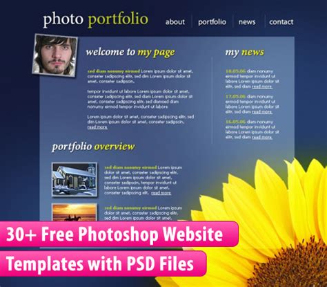 free photoshop photo templates 30 free photoshop website templates with psd files