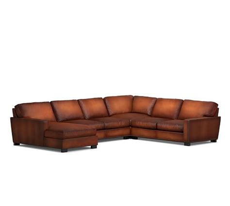 leather nailhead sectional turner square arm leather 4 piece chaise sectional with