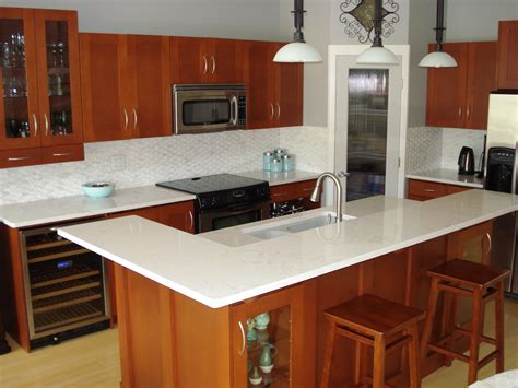 Kitchen Quartz Countertops For The Kitchen On White Subway Tiles White Countertops And White Quartz Countertops