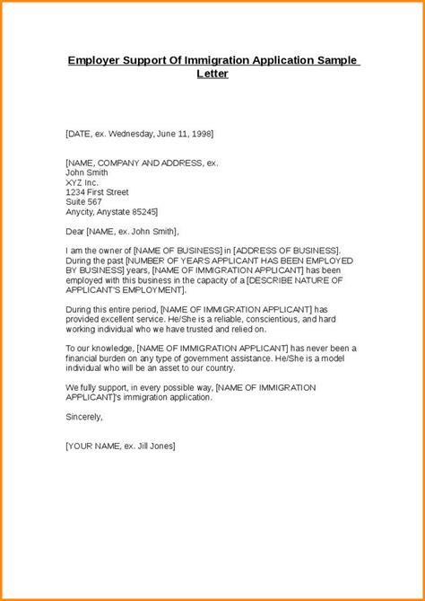 Sle Letter Employer Support Of Immigration Application Sle Letter Of Support Best Resumes
