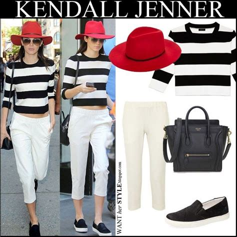 Sweatwr Unisex Newyork 94 kendall jenner in black and white striped cropped sweater