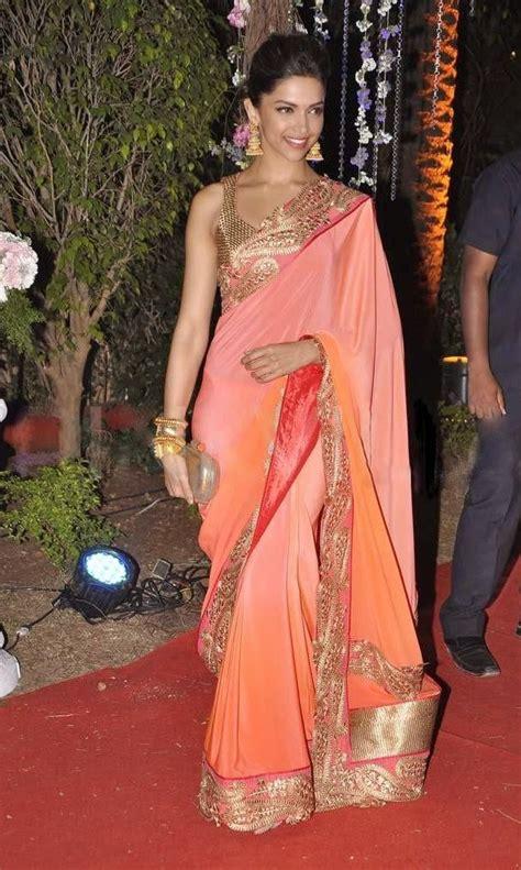 deepika padukone gold saree bollywood actress saree collections deepika padukone in