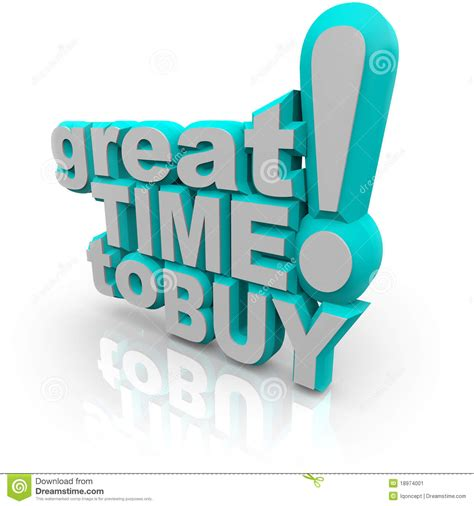 great time to buy words encouraging a sale stock image