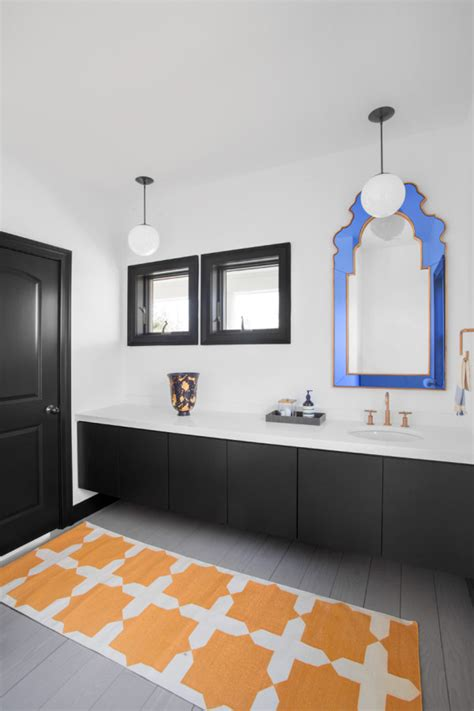 black white blue bathroom picture of black and white bathroom is spruced up with a