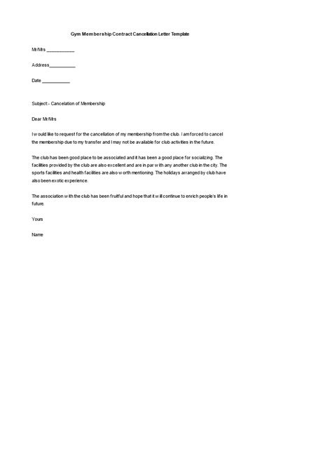 cancellation letter fitness membership contract cancellation letter