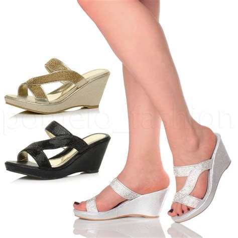 High Heels Sandal Selop Br womens high heel wedge strappy diamante platform