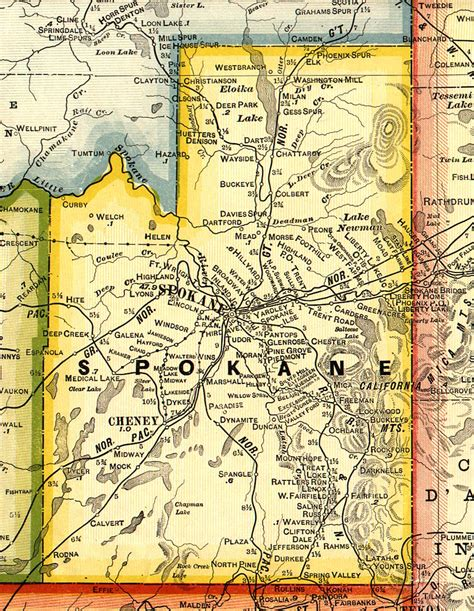 spokane map usgenweb archives washington spokane county