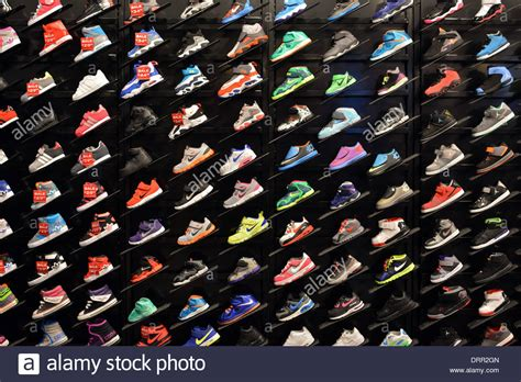 sporting shoes stores colorful display of s athletic shoes at foot locker