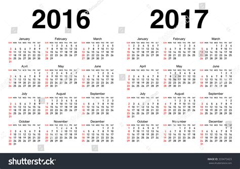 2016 Through 2017 Calendar Calendar For 2016 And 2017 With White Background Stock