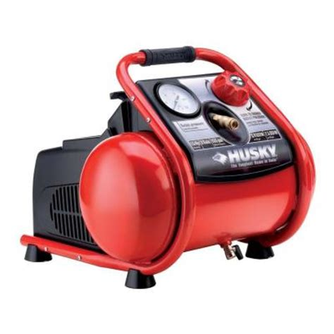 husky factory reconditioned trim plus 3 gal portable electric air compressor h1503tp r the