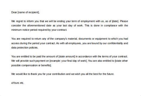 termination letter for contract employee 20 contract termination letter templates pdf doc