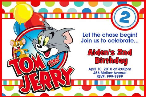 Luck Card Tom And Jerry Template by Tom And Jerry Birthday Invitations Dolanpedia