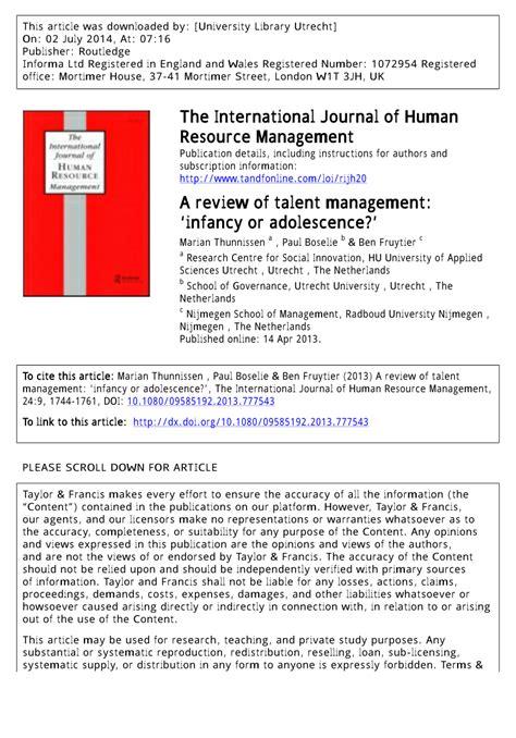 talent management research papers pdf a review of talent management infancy pdf