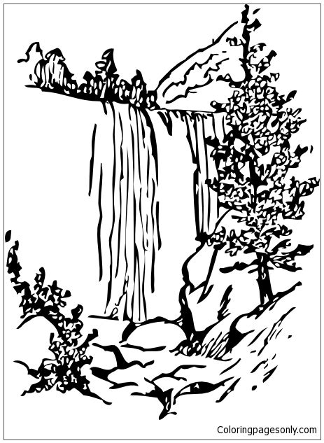 rainforest waterfall coloring page forest with waterfalls coloring page free coloring pages