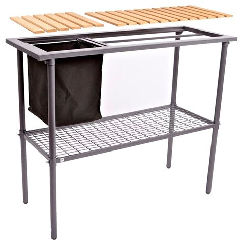 potting bench weatherguard garden and greenhouse composite wood top