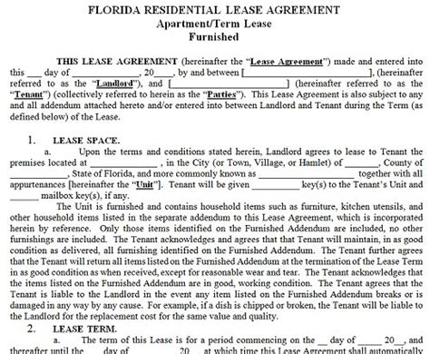 florida residential tenancy lease agreement florida rental
