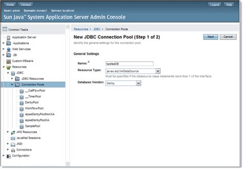 glassfish admin console creating an xa connection pool and a jdbc resource using