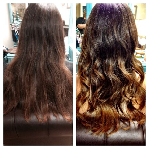 before and after ombre balayage on dark brown color treated hair before after ombr 233 balayage hair brown caramel