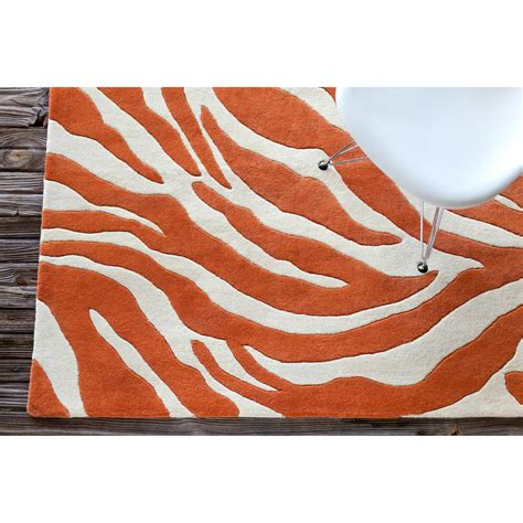 Orange White Rug by Stella Collection Tufted Area Rug In Orange White