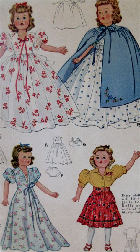 pattern clothes vintage 1941 doll clothes sewing pattern mccalls 918 size