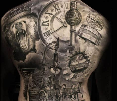 dark back of time 0099287463 black and grey back tattoo by steffi eff best tattoos k 246 rper tattoos k 246 rper und