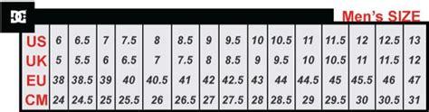 shoe size chart dc 85 00 dc maddo se adys100245 bta men size 7 5
