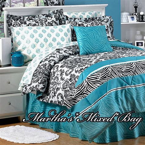 Teal Zebra Stripe Black Parisian French Damask Bedding 6 Teal Bedding For