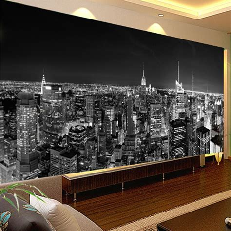 City Lights Wallpaper For Bedroom Custom Photo Wallpaper Mural View New York City Black And White Building Wall Paper Modern