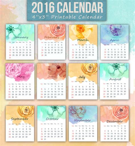 mini calendar template printable mini calendar for 2016 free to and print
