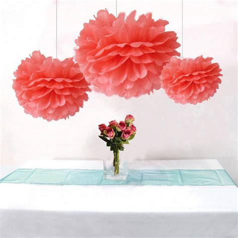 Handmade Pom Pom Decorations - bulk 12pcs coral wedding decoration diy tissue paper