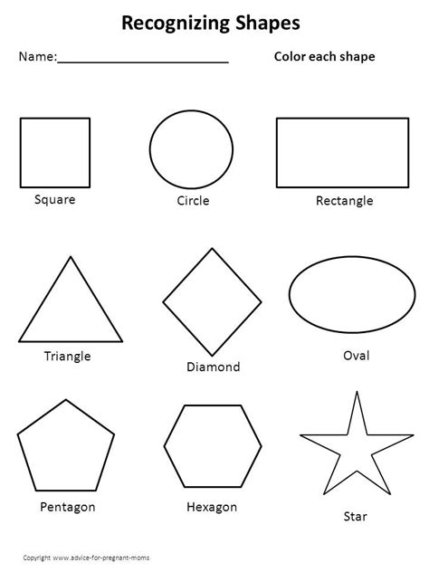 free printable shapes with names kindergarten worksheets printable worksheets for