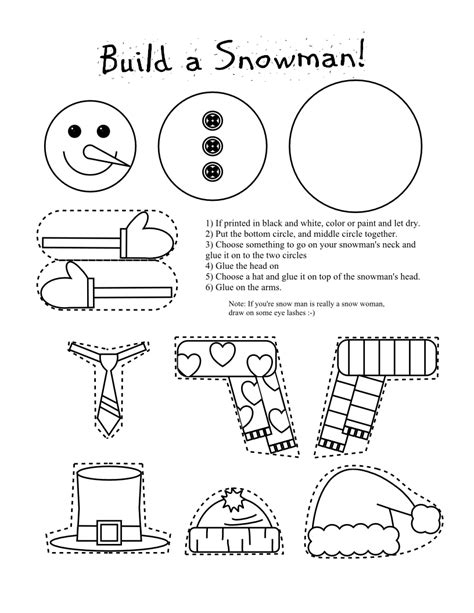 printable arts and crafts for printable snowman coloring page craft lovebugs and postcards