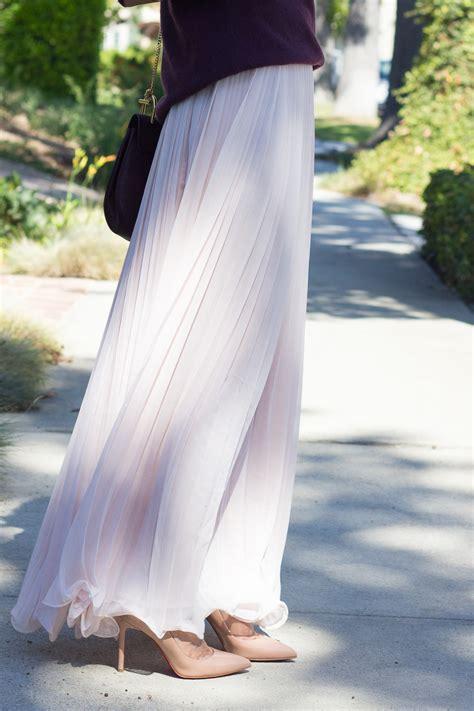 blush pleated maxi skirt dress ala
