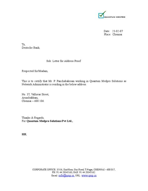 Address Proof Letter From Employer Address Proof Letter