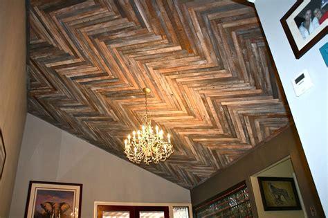reclaimed wood ceiling timeless herringbone pattern in home d 233 cor