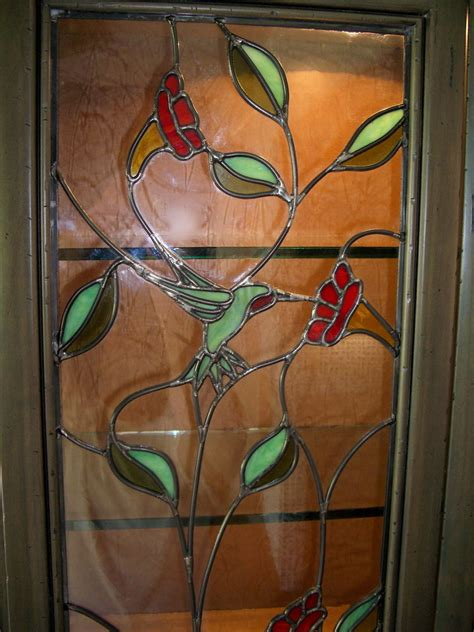 Honeysuckle Stained Glass And Patchwork - finest quality custom designed cabinet stained glass by