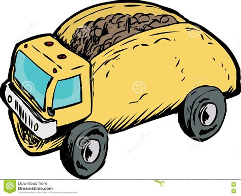 coq a doodle food truck single beef taco dump truck drawing stock illustration