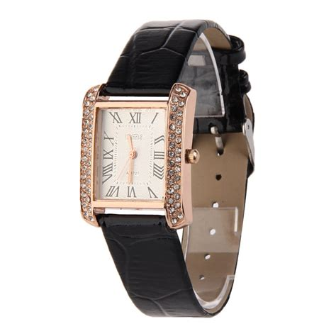 new pu leather band alloy square diamante
