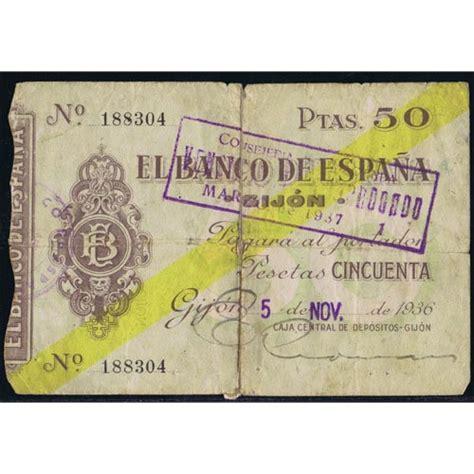comprar lingotes de oro banco de espa a 1936 11 05 banco de espa 241 a gijon 50 pesetas mbc