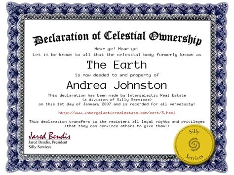 certificate of ownership template declaration of celestial ownership