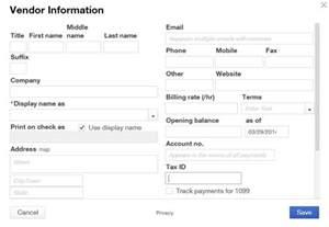 vendor contact information template vendors center quickbooks tutorials