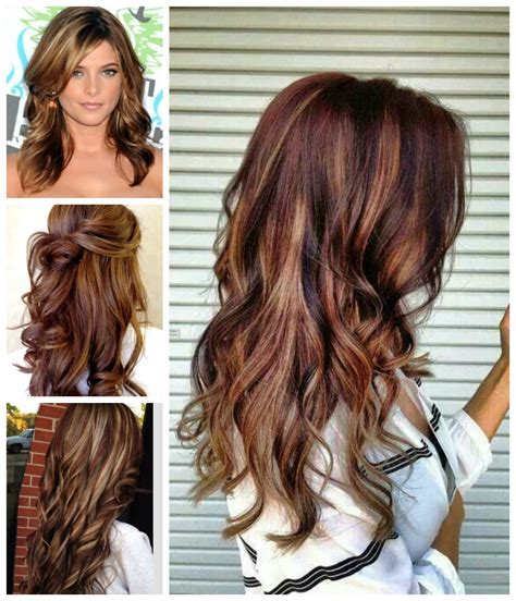 brown hair red tint blode highlights chocolate red hair color with blonde highlights www