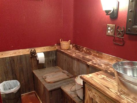rustic bathroom  paint  cabin red valspar