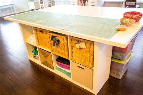 diy fabric cutting table diy sewing and cutting table with storage cubbies