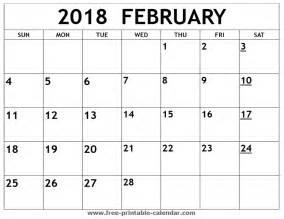 Calendar 2018 Feb Printable 2018 February Calendar