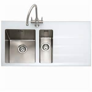 Kitchens Sinks And Taps Caple Vitrea 150 Stainless Steel And White Glass Sink Kitchen Sinks Taps