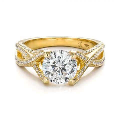 Handmade Gold Engagement Rings - custom and yellow gold engagement ring 100565