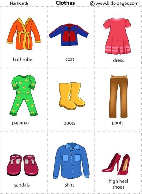clothing themed words lots of flashcards to print use with hedbanz game